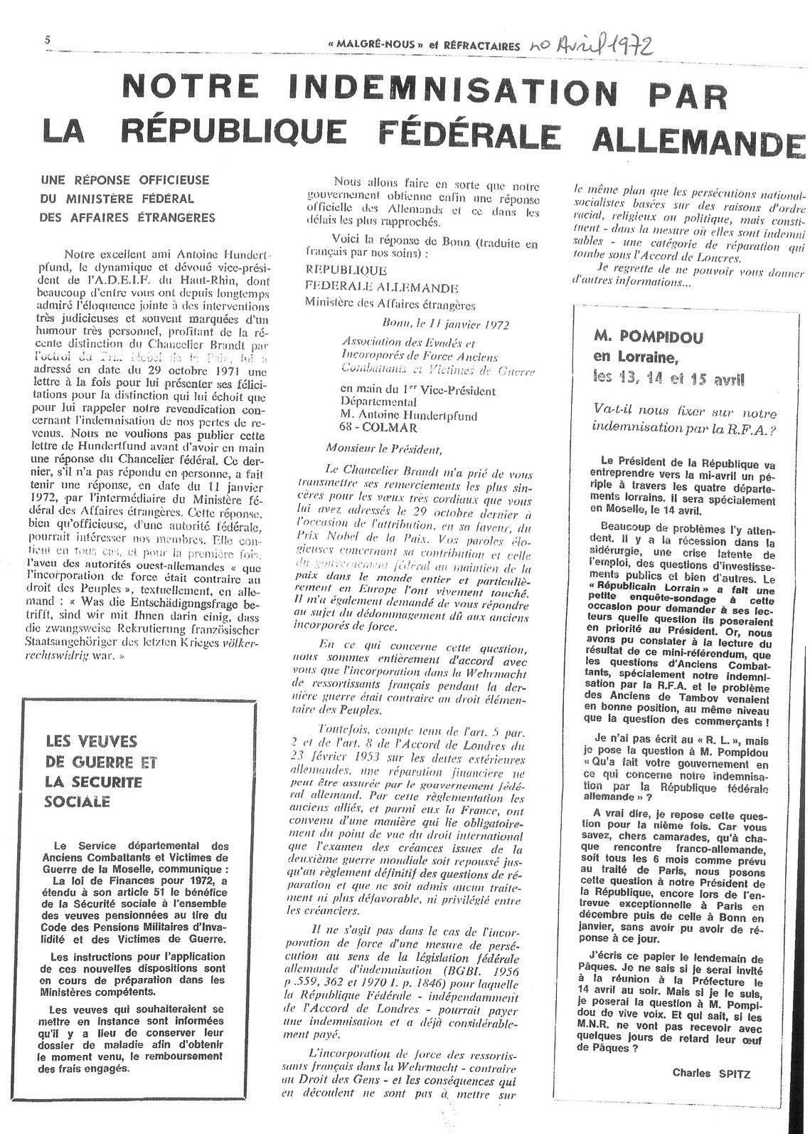 Malgre-Nous et Réfractaires, avril 1972